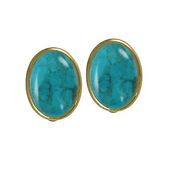 Eternal Collection Cabochon Turquoise Gold Tone Stud Clip On Earrings
