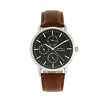 Elevon Lear couro-Band Watch w/dia/data-marrom/prata