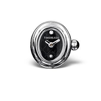 Timebeads Black Oval Watch Charm with Clip Fastening TB2010BK