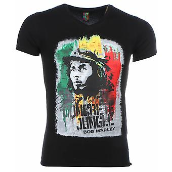 Camiseta-Bob Marley Concrete Jungle Print-Negro