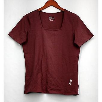 Denim & Co. Top Perfect Jersey Short Sleeve w/ Square Neckline Purple A200149