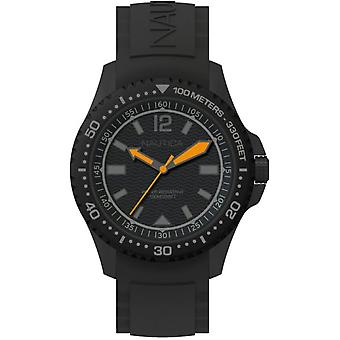 Nautica maui black Japanese Quartz Analog Man Watch with NAPMAU008 Silicone Bracelet