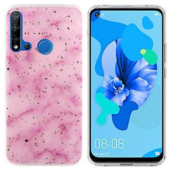 Bagside Cover marmor glitter til Huawei P20 Lite 2019 pink