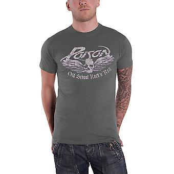 Poison T Shirt Old School band logo new Official Mens Grey