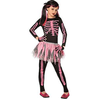 Girls Age 4 - 12 Years Pink Skeleton Tutu Halloween Fancy Dress Costume