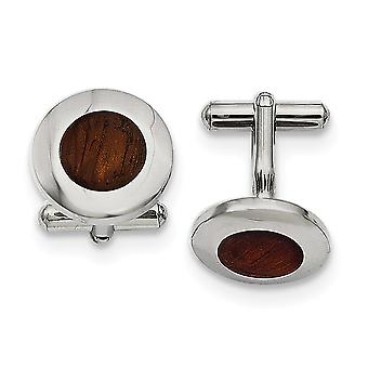 Stainless Steel Polished Wood Inlay Round Cuff Links Jewelry Gifts for Men