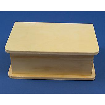 15.5cm Book Style Wooden Box with Magnet Close to Decorate for Crafts