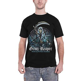 Grim Reaper T Shirt Walking In The Shadows Band Logo new Official Mens Black