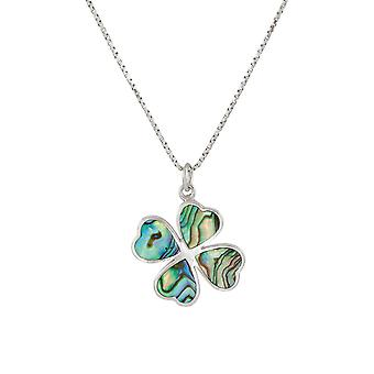 Eternal Collection onnekas Clover Abalone Sterling hopea riipus
