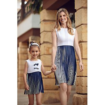 White and blue pleated matching dress set