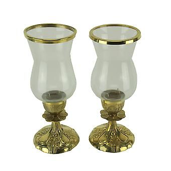 Gold Metal and Glass Ornate Antique Hurricane Candle Stick Holders Set of 2