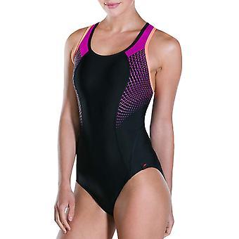 Speedo Womens Fit Pro One Piece Crossback simning simma baddräkt kostym-svart