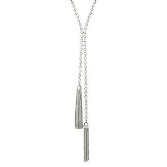 Eternal Collection Starshine Crystal Silver Tone Tassel Lariat Style Necklace
