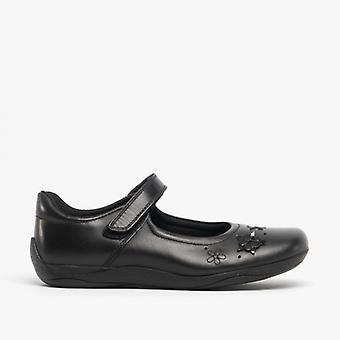 Hush Puppies Candy Jnr Girls Leather School Shoes Black