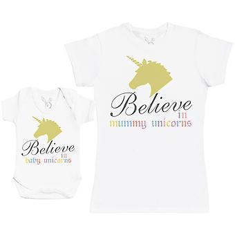 赤ちゃんユニコーンマッチング母の赤ちゃんのギフトセットを信じて - 女性Tシャツ&ベビーボディスーツ