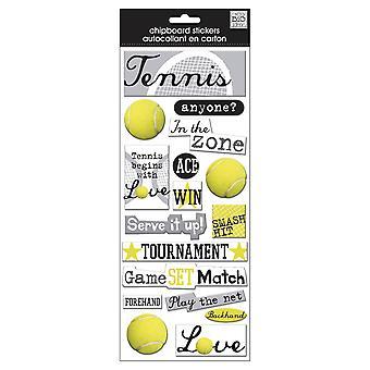 Mig & amp; Mina stora idéer designer Chipboard klistermärken-tennis, 16/pkg