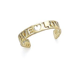 14k Yellow Gold Cutout Love Toe Ring Jewelry Gifts for Women - .9 Grams