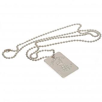 Liverpool Champions Of Europe Silver Plated Dog Tag & Chaîne