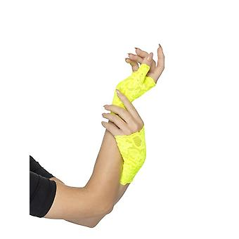 80's Fingerless Lace Gloves, Neon Yellow, Short