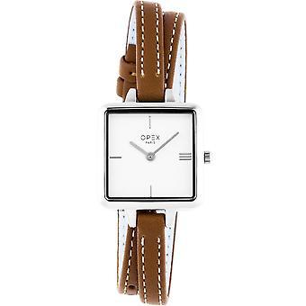 Opex OPW055 Watch - MINI SQUARE Leather Bracelet Brown Bo tier Steel Silver Women