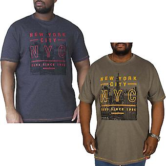 Duke D555 Mens Alex New York Print Crew Neck Big Plus King Size T Shirt Top