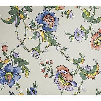 Floral Trail Wallpaper Flowers Berries Cream Purple Yellow Red Paste Wall Fardis