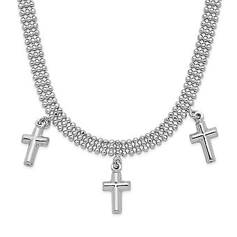 925 Sterling Silver Rhodium Plated 3 kríž s 4in. ext. Choker náhrdelník 13 palcov-8,5 gramov