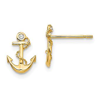 14k Yellow Gold Madi K CZ Cubic Zirconia Simulated Diamond for boys or girls Nautical Ship Mariner Anchor Post Earrings