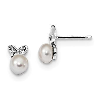 6.08mm 925 Sterling Silver Rhodium plated Cubic Zirconia Fwc Pearl Butterfly Post Earrings Jewelry Gifts for Women