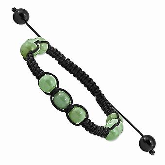 Slip on Adjustable 8mm Green Aventurine and Black Cord Bracelet Jewelry Gifts for Women