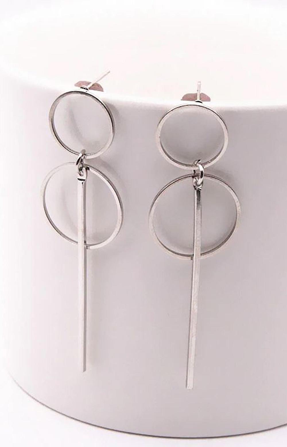 Drop Stick Double Hoop Earrings - Silver
