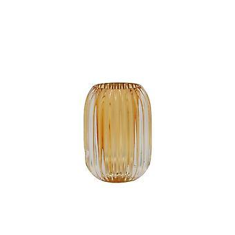 Licht en levend theelicht 9,5x13cm - Pertu Helder glas en oranje
