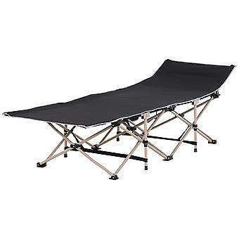 Outsunny Single Person Wide Folding Camping Cot Portable Outdoor Military Sleeping Bed Black