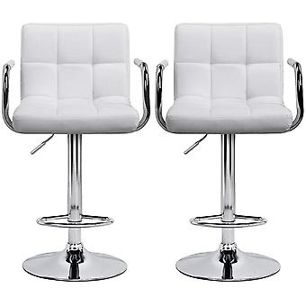 Set of 2 X-Large 41cm Base Barstools Kitchen Breakfast Bar Stools Chair with Backs and Arms White