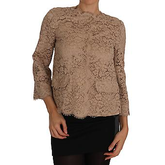 Dolce & Gabbana Beige Floral Lace Taormina Blazer Jacket