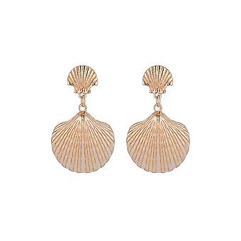Textured Gold Shell Drop Earrings