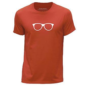 STUFF4 Men's Round Neck T-Shirt/Hipster Fashion / Glasses/Orange