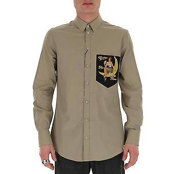 Dolce E Gabbana G5ho8tgen77s9000 Män's Beige Bomullskjorta