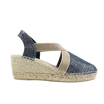 Toni Pons Triton Navy Glittery Textile Womens Pull On Espadrille Shoes