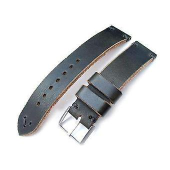 Strapcode leather watch strap 20mm and 22mm miltat horween chromexcel watch strap, blackish green, grey stitching