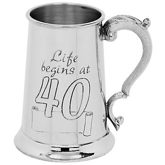 Life Begins At 40 Birthday Pewter Tankard - 1 Pint