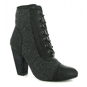 Timeless Jessica Ladies Herringbone Pattern Lace Boots Grey