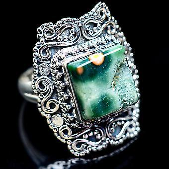 Large Ocean Jasper Ring Size 8 (925 Sterling Silver)  - Handmade Boho Vintage Jewelry RING2819