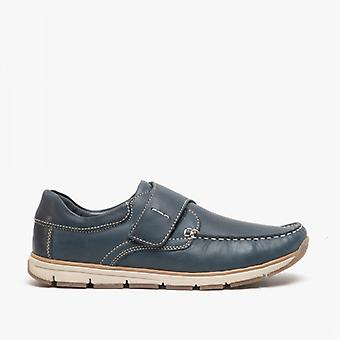 Roamers Serge Mens Leather Touch Prende Moccasin Shoe Navy