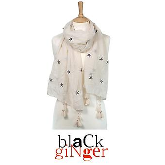 Black Ginger Cream Scarf with Silver Star Pearls and Tassels (734-525)