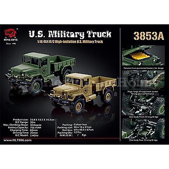 Heng Long RC Military Truck 1:16, 4X4, Neumáticos de goma, Amortiguador, Pintado