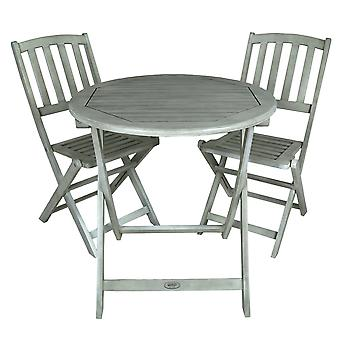 Charles Bentley Acacia FSC White Washed Wooden Outdoor Garden Patio Bistro Set - Table avec 2 chaises