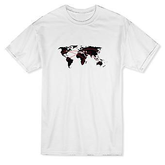 Resa linjer globala kontinenter Design mäns T-shirt