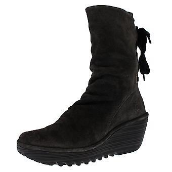 Womens Fly London Yada Suede Diesel Wedge Heels Winter Mid Calf Boots