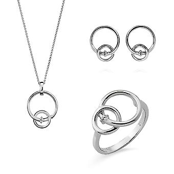 Orphelia Silver 925 SET Earring-Pendant-Ring  Double rings with  rhodium  plated
